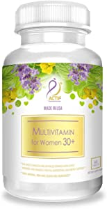 Actif Organic Multivitamin for Women Age 30+ with 30 Organic Vitamins and Organic Herbs, Non-GMO, Made in USA, 2-Month Supply