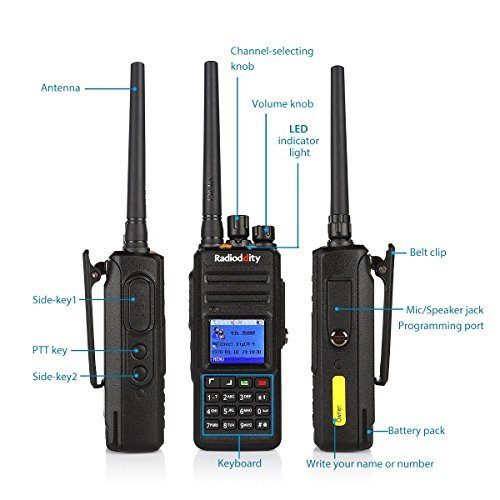 Radioddity GD-55 Plus 10W IP67 Waterproof UHF 400-470MHz 256CH 2800mAh DMR Two Way Radio Ham Radio Compatible with Mototrbo Dual Time Slot, with Free Programming Cable+ 2 Antennas + Remote Speaker by Radioddity (Image #7)