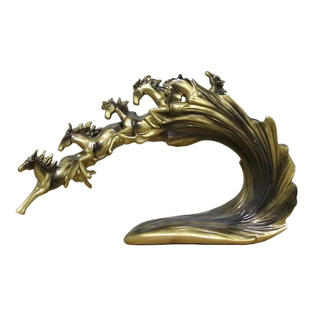 装飾材料 成功装飾ラッキーホームテレビキャビネット装飾工芸品樹脂装飾への馬 (Color : Gold, Size : 65*15.5*37.5cm) 65*15.5*37.5cm Gold B07TNHF4FB