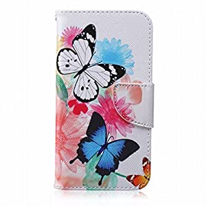 LEMORRY Samsung Galaxy J3 Flip Case, [Dual Printed] Floral Butterfly Durable Soft TPU Cover + PU Leather Wallet Cards Stand Magnet Strap Flexible Skin Protection