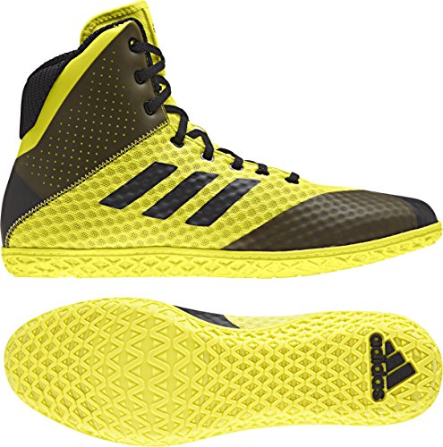 Adidas Youth Boys Kids Mat Wizard 4 Wrestling Mat Shoe Lace Up (Yellow/Black, 2)
