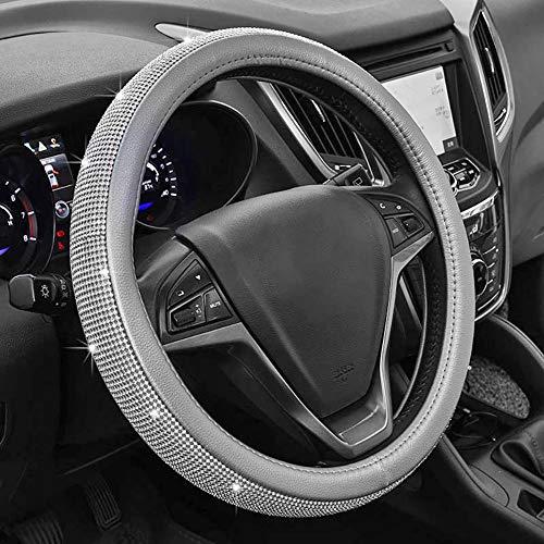 Full Sparkly Rhinestone car Steering Wheel Cover Universal Leather Steering Wheel Cover Auto Car Styling Interior Decor Accessories (gray)