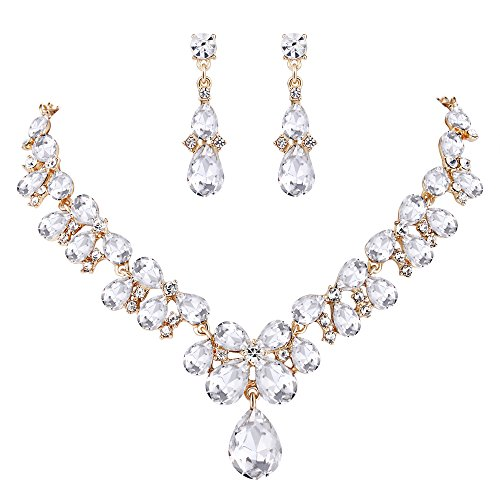 BriLove Wedding Bridal Necklace Earrings Jewelry Set for Women Crystal Teardrop Cluster Statement Necklace Dangle Earrings Jewelry Set Clear Gold-Toned