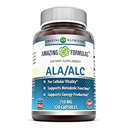 Amazing Nutrition Ala/alc (Acetyl L-carnitine 525 Mg / Alpha Lipoic Acid 225 Mg) 750 Mg 120 Capsules - Support Your Vital Metabolic Functions - Supports the Immune System and Healthy Liver Function