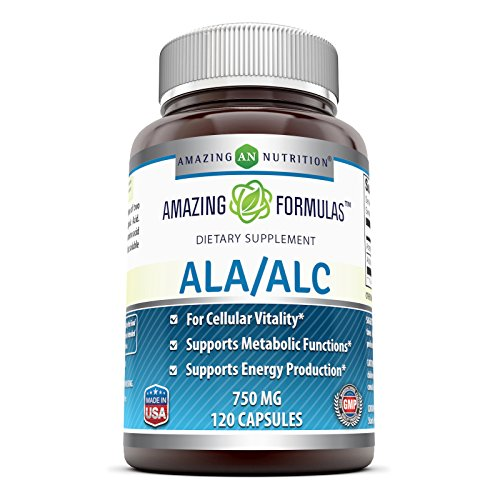Amazing Formulas ALA/ALC (Alpha Lipoic Acid/ Acetyl L Carnitine) Dietary Supplement 750 mg 120 Capsules Supports Cellular Vitality, Healthy Metabolic Functions and Energy Production