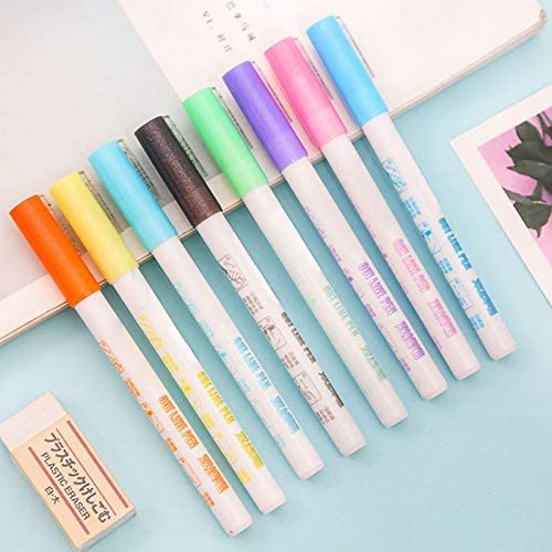 RollingBronze Highlight Pens 6Pcs//Set Double-Headed Highlight Pens 6 Colors Markers for Students Painting Marking Card Making