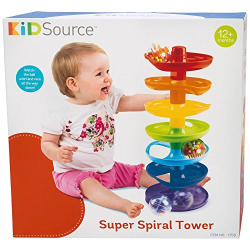 513VdQwBOFL - KidSource Super Spiral Tower - Ball Drop and Roll Activity Toy - Seven Colorful Ramps and Three Rattling Balls Promote Fine Motor Skills for Kids Ages 1 Year Old and Up