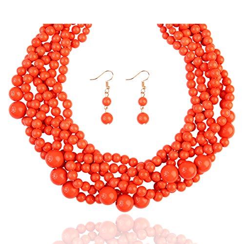 RIAH FASHION Braided Chunky Cluster Bead Bubble Statement Necklace - Multi Strand Twisted Colorful Twisted Ball Hammock Bib Collar ()
