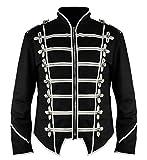 Ro Rox New Steampunk Military Drummer Emo MCR Punk Gothic Parade Jacket (Black & White, M)