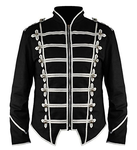 Ro Rox New Steampunk Military Drummer Emo MCR Punk Gothic Parade Jacket (Black & White, M) by Ro Rox