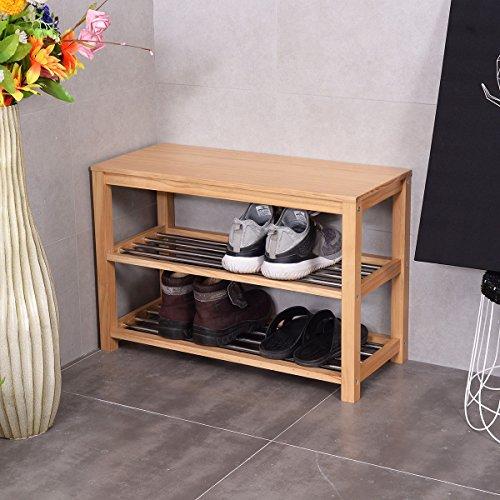 MyEasyShopping 3-Tier Wooden Shoe Rack Storage Bench, Wood Wooden Closet Entry Bathroom Kitchen Shoes Shelf Natural Color, Shoe Wood Rack Storage Bench Closet Bathroom Kitchen Entry by MyEasyShopping (Image #4)