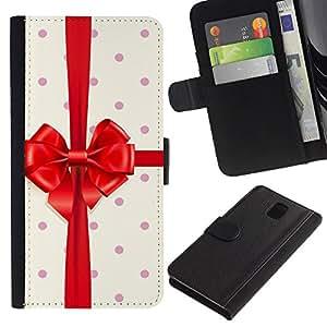 Billetera de Cuero Caso del tirón Titular de la tarjeta Carcasa Funda del zurriago para Samsung Galaxy Note 3 III N9000 N9002 N9005 / Business Style Birthday Gift Polka Dot Ribbon
