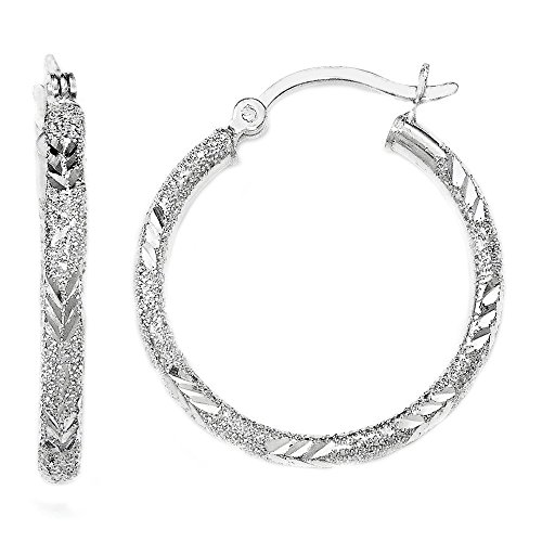 Designs by Nathan, 925 Sterling Silver Seamless Sparkle Hoop Earrings, Laser and Diamond-Cut, 2 Choices (2.5mm x 25mm, about 1'') by Designs by Nathan