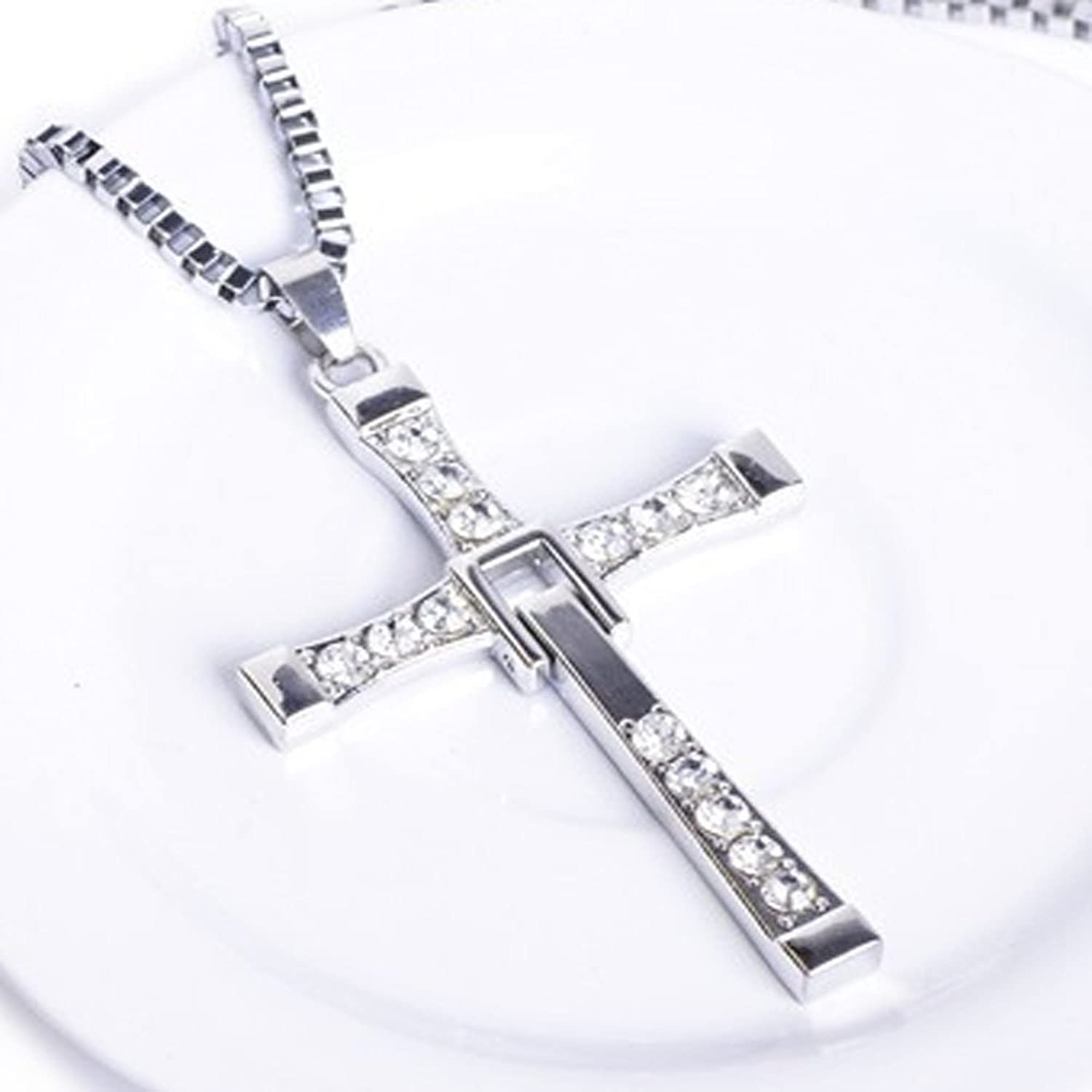 Arisidh 92.5 Pure Sterling Silver Cz Studded Holy Cross Pendant ...