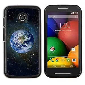 LECELL--Funda protectora / Cubierta / Piel For Motorola Moto E -- Planeta Tierra Azul Espacio Estrellas Universo Cosmos --