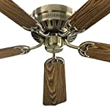 quorum ceiling fan hugger - Quorum 11425-4, Custom Hugger Antique Brass Flush Mount 42