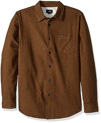 Obey Men's Outsider Long Sleeve Woven Shirt, Rust Multi, (Outsider Flannel)