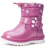 VECJUNIA Baby Boys' Girls' Warm Waterproof Zipper Fleece Winter Snow Boot (Light Purple, 7 M US Toddler)