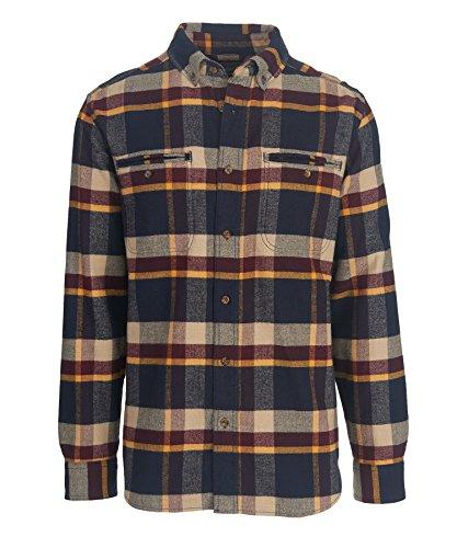 Woolrich Men's Oxbow Pass Plaid Flannel Shirt - 100% Organic Cotton, DEEP INDIGO HERRINGBONE (Blue), Size XL ()