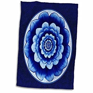 3D Rose Pastel Cobalt Fantasy Mandala Flower On Royal Blue Background Twl 31753 1 Towel 15 X 22
