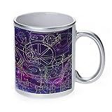 Steampunk Schematics Colorpop Metallic Silver Sparkle Coffee Mug