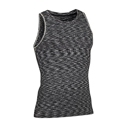 Prettywell Men's PRO Fitness Sports Fast Dry Breathable Stretch Vest MA44 (L, Grey)