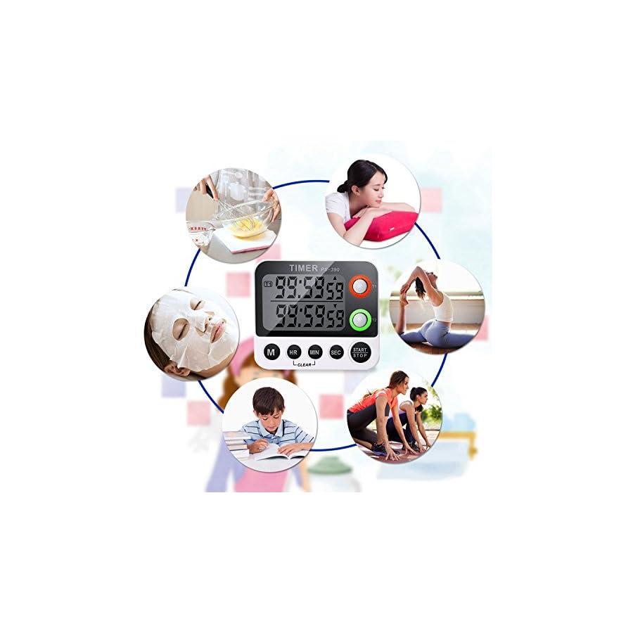 Digital Timer EMDMAK 100 Hour Dual Count Up/down Timer with Magnet Hanging Bracket Large LCD Display Loud Alarm