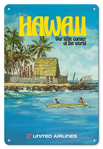 (Pacifica Island Art 8in x 12in Vintage Tin Sign - Hawaii - United Airlines - City of Refuge, Honaunau Bay by Michael Hagel )