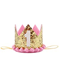 Besker 1st Birthday Crown Baby Girl First Birthday Tiara Headband Hat Cake Smash