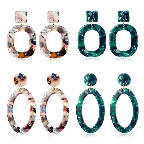 LOLIAS 4 Pairs Acrylic Dangle Drop Statement Earrings for Women Resin Fashion Jewelry
