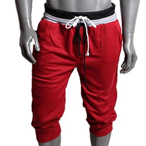 HANYI Men Sport Sweat Pants Shorts Harem Dance Baggy Jogging Training Trousers Leggings (XL, Red) (Sexy Men Uniform)