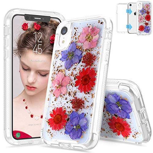 - SEYMAC iPhone XR Case iPhone XR Flower Case, Dual Layer Hybrid Protection Shockproof Rugged Bumper Non-Slip Protective Case with Real Dried Pressed Flower for Girls Women for iPhone XR 6.1
