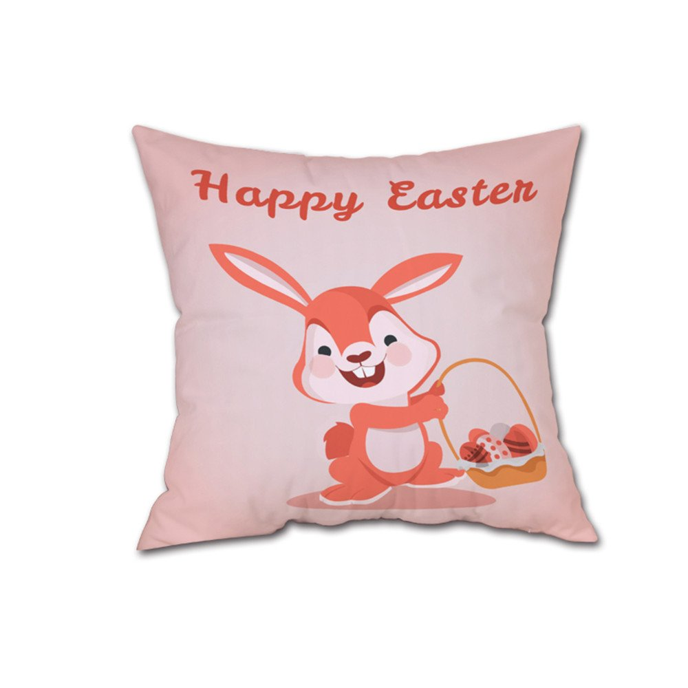 Weiliru Happy Easter Rabbit Linen Throw Pillow Cover Cushion Case, Farmhouse Modern Decorative Solid Square Pillow Case, Thickened Luxury for Sofa Couch Bed