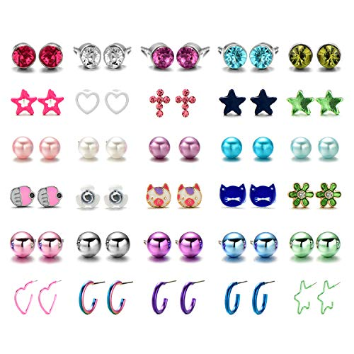 (OAONNEA 30 Pairs Stainless Steel Multiple Cute Animals Heart Moon Star Crystal Cross Pearl Ball Small Hoops Stud Earrings Set for Women Girls (30 Pack Pearl Animals))