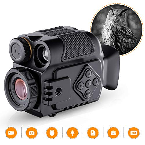 Night Vision Monocular for Adults, 5X HD Digital Zoom Portable Infrared Camera Scope 650ft/200m with 8GB TF Card, TFT LCD, USB Charging, for Hunting Adventure Camping Navigation Wildlife Observation
