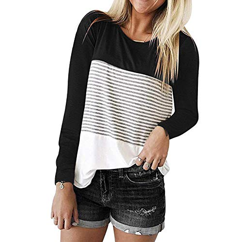 Triple Color Block Stripe T-Shirt Women Long Sleeve Casual Blouse from SERYU