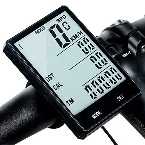 Redlemon Computadora y Velocímetro Digital para Bicicleta Pantalla LCD IPX6 a Prueba de Agua Retroiluminación Odómetro Medidor de Distancia Calorías Tiempo Temperatura y más