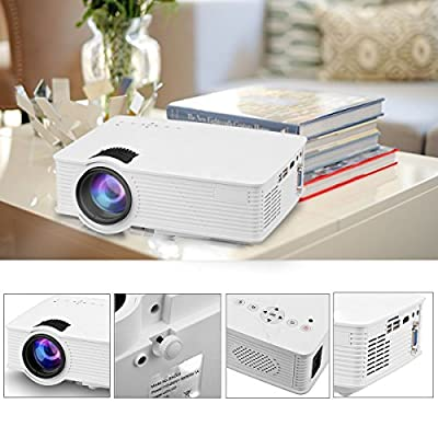 M.E.R.A. HD 1080p Projector, Portable 7000 Lumens 3D LED Projector Home Cinema HDMI USB SD VGA AUDIO, Cinema Effect
