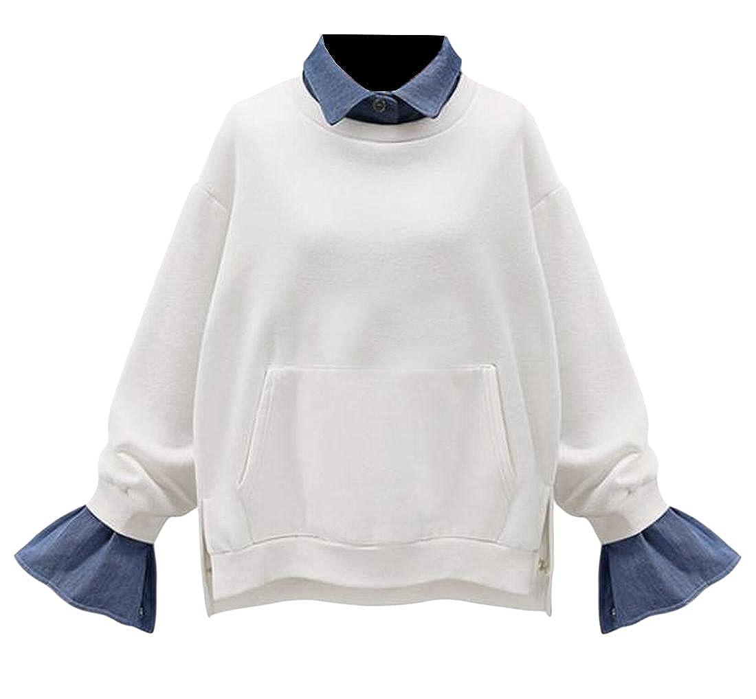 Honey GD Womens Pullover Sweatshirt Fashion Luxury Simple Outwear