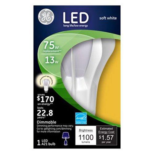 GE Lighting 13884 Energy-Smart LED 13-watt, 1100-Lumen A21 Bulb with Medium Base, Soft White, 1-Pack