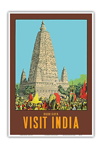 - Pacifica Island Art Visit India - Bodh Gaya - Mahabodhi Temple - Bihar, India - Vintage World Travel Poster by W. S. Bylityllis c.1950s - Master Art Print - 13in x 19in