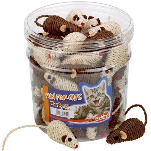 Nobby Sisal Maus Spielzeug Box für Katzen, 7cm, braun/beige, 45-pieces