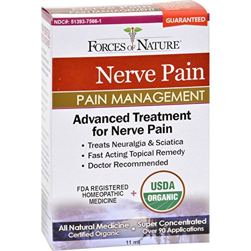 Forces of Nature Organic Nerve Pain Management - Treats Neuralgia and Sciatica - Homeopathic - All Natural - 11 ml (Pack of 2)