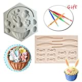 Silicone Fondant Mold Set 2Pack Easter Chocolate Candy Baking Mold for Cake Decoration Rabbit Basket Flower Bunny Egg Bow Shaped with Brush