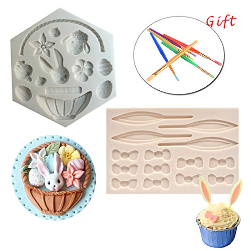 - Silicone Fondant Mold Set 2Pack Easter Chocolate Candy Baking Mold for Cake Decoration Rabbit Basket Flower Bunny Egg Bow Shaped with Brush