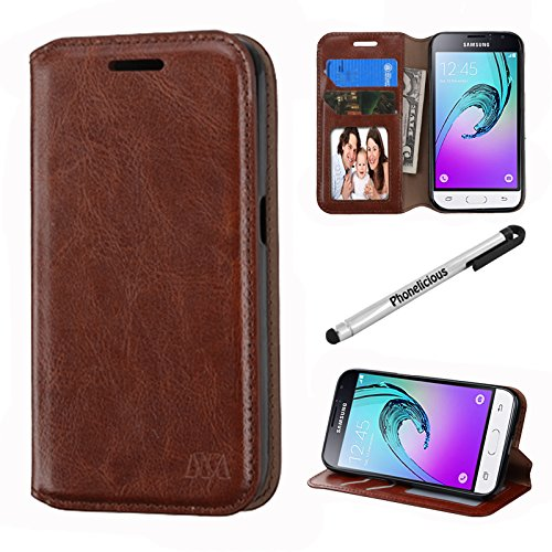 SAMSUNG GALAXY LUNA CASE , Phonelicious Tm Wallet PU Leather Case Premium Pouch ID Credit Card Cover Flip Folio Book Style with Money Slot +Pen (BROWN FOLDSTAND)