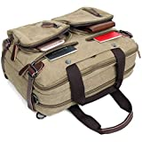 Clean Vintage Laptop Bag Hybrid Backpack Messenger Bag/Convertible Briefcase Backpack Satchel for Men Women- BookBag Rucksack Daypack-Waxed Canvas Leather, Khaki