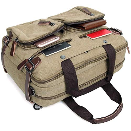 Convertible Computer Briefcase - Clean Vintage Laptop Bag Hybrid Backpack Messenger Bag/Convertible Briefcase Backpack Satchel for Men Women- BookBag Rucksack Daypack-Waxed Canvas Leather, Khaki