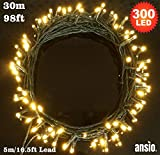 Fairy Lights 300 LED Warm White Indoor & Outdoor String Lights 8 Functions 30m / 98ft Lit Length with 5m/16.5ft Lead Wire - Power Operated LED Fairy Lights - Ideal for Christmas Tree, Festive, Wedding/Birthday Party Decorations LED String Lights - GREEN CABLE - INDOOR & OUTDOOR Us