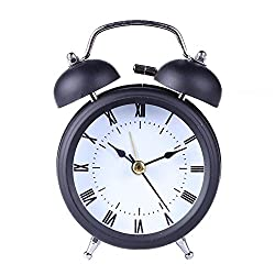 CieKen Useful Retro Twin Bell Alarm Clocks Silent Quartz Movement Sweep Second Hand Bedside Desk Analog Morning Wake Up Alarm Clock (3-Black)